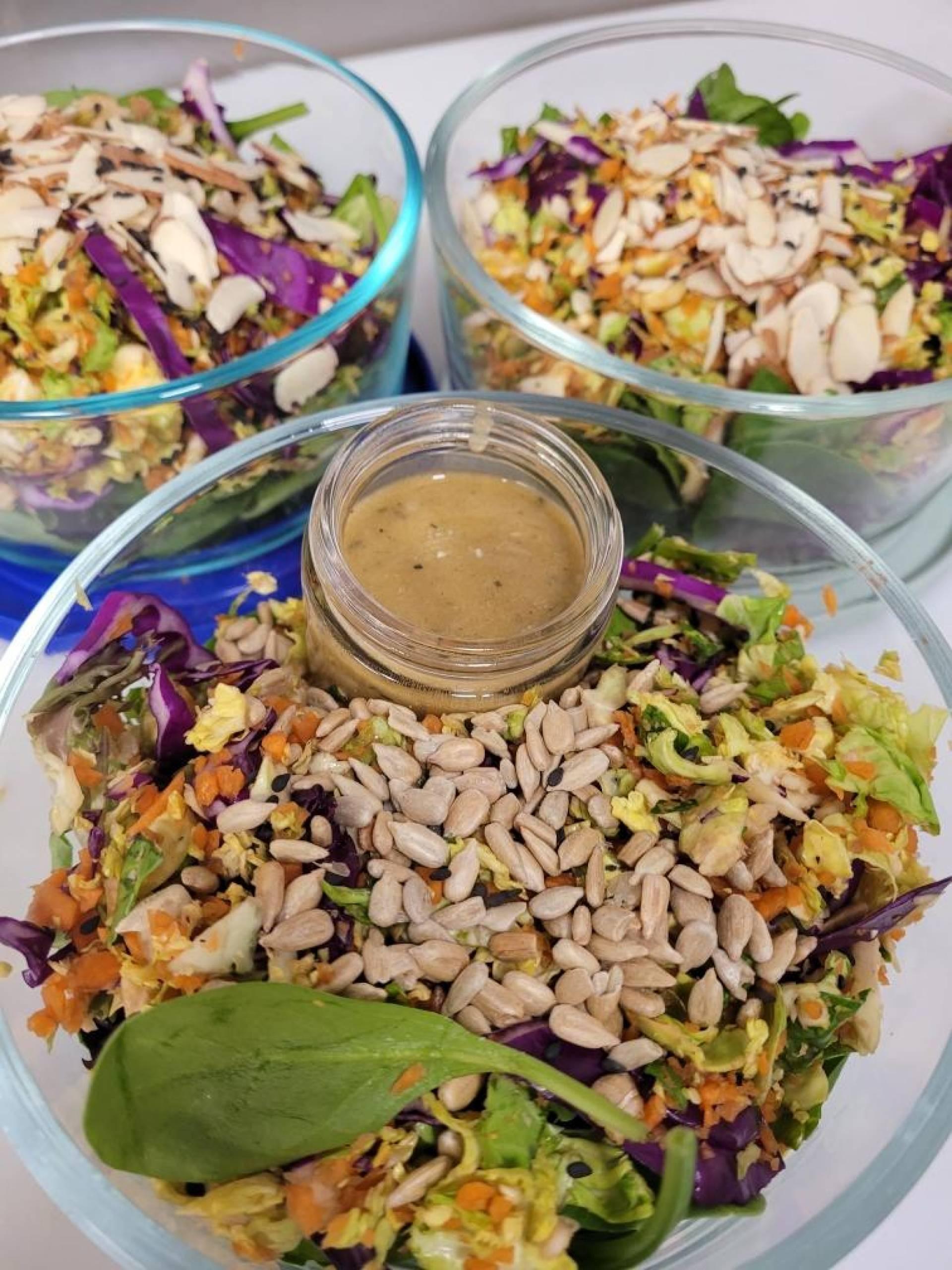 brussels salad with sesame dressing
