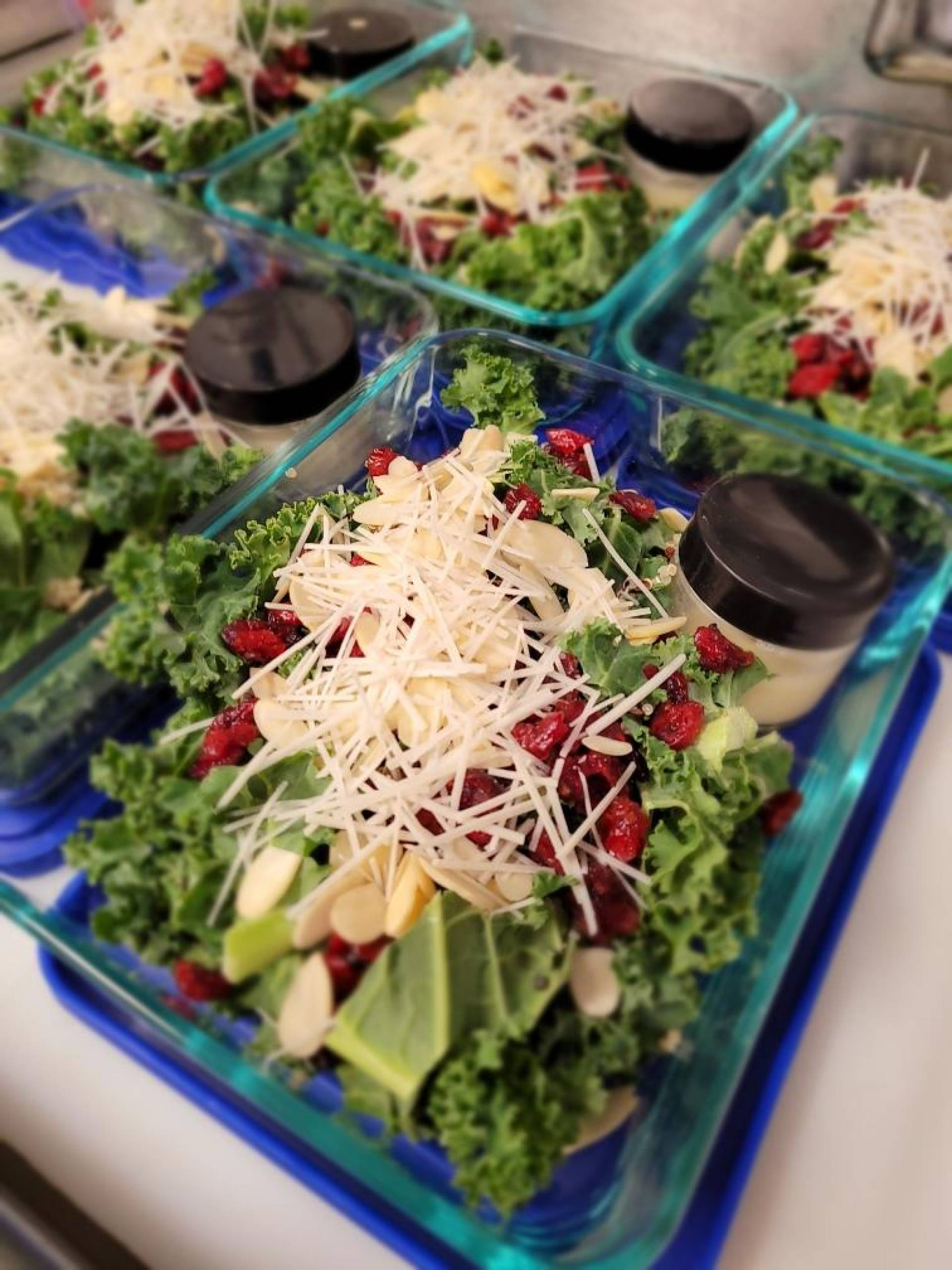 Kale Salad with Truffle Aioli Cranberry Quinoa