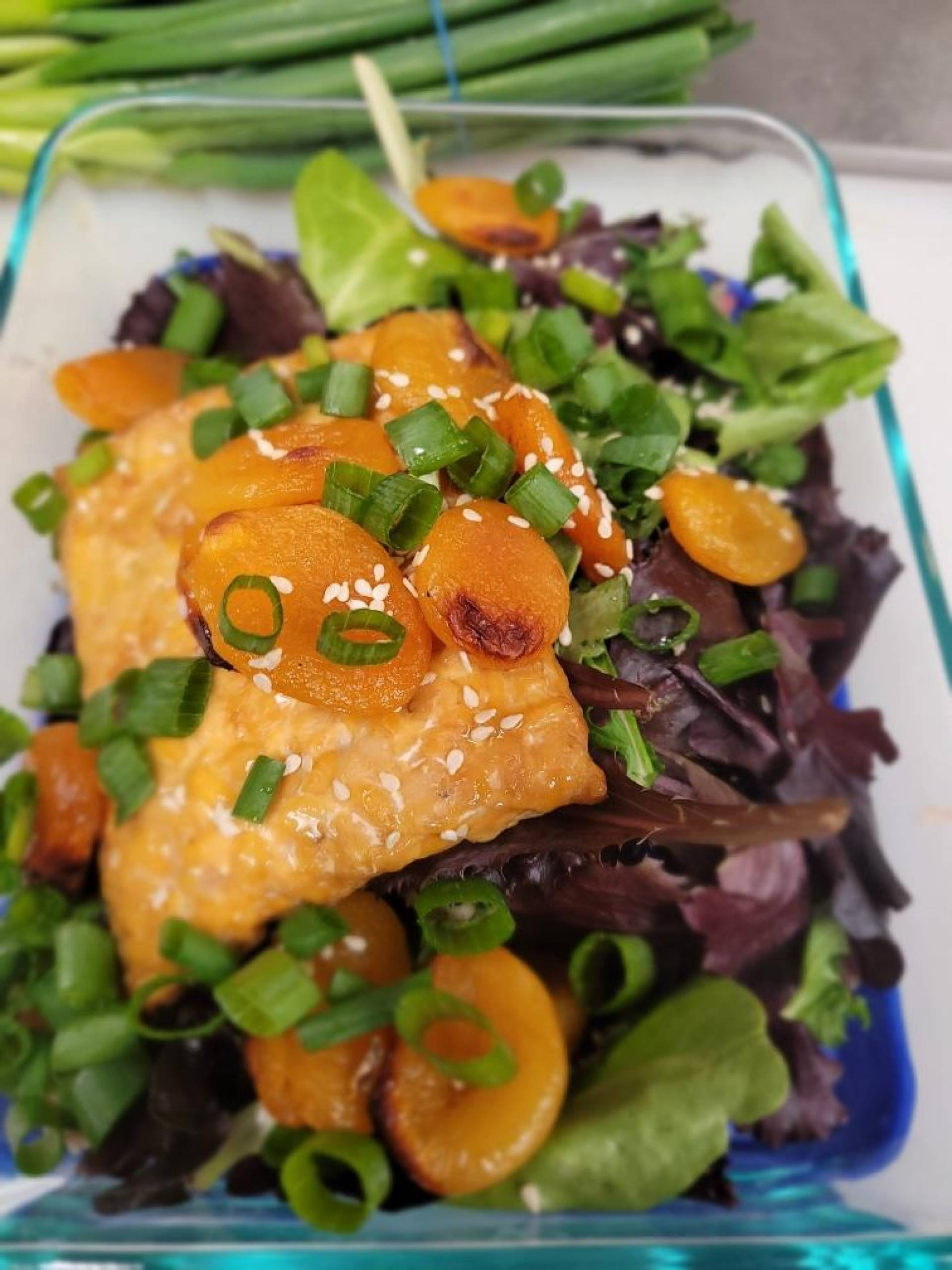 Apricot Tempeh with Greens