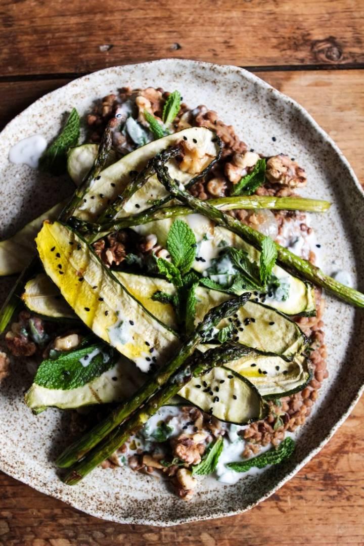 Zucchini with Asparagus, Lentils, and a Lemon Yogurt Dressing