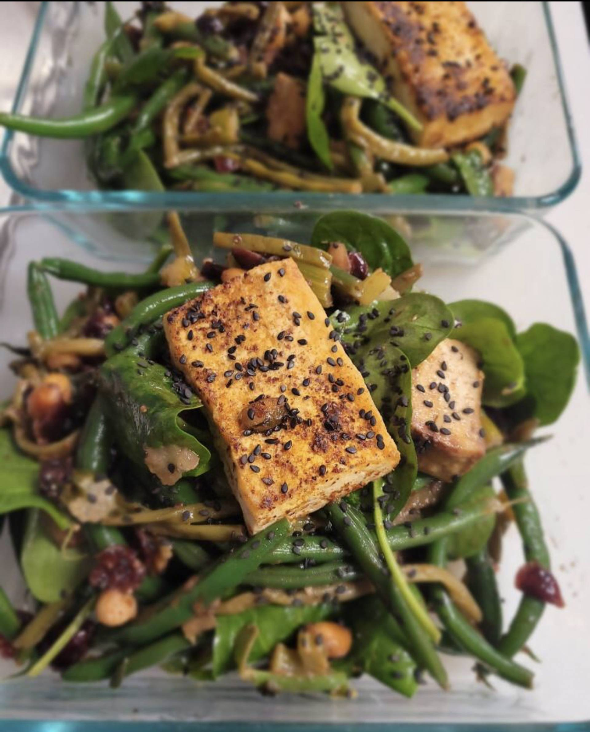 Celery and Green Bean with Crispy Tofu