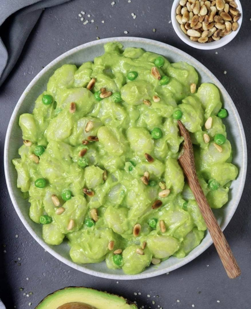Avocado Sweet Pea Cauliflower Gnocchi